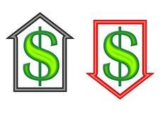 Símbolos del dinero adentro arriba y abajo de flechas Imagenes de archivo