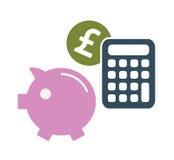 Símbolos del dinero del ahorro de la libra Imágenes de archivo libres de regalías