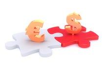 Símbolos del dinero en peaces del rompecabezas Fotos de archivo libres de regalías