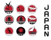Símbolos del diseño de la cultura de Japón ilustración del vector