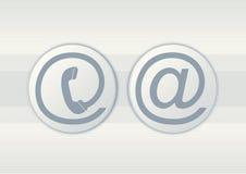 Símbolos del email y del teléfono Imagen de archivo