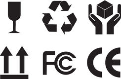 Símbolos del embalaje Fotos de archivo