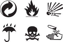 Símbolos del embalaje Imagenes de archivo