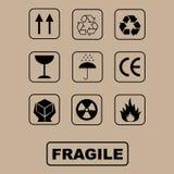 Símbolos del embalaje - conjunto Foto de archivo libre de regalías