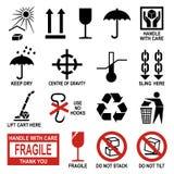 Símbolos del embalaje y del envío Fotografía de archivo