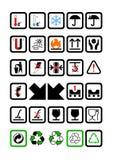 Símbolos del embalaje y del envío Imagenes de archivo