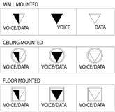 Símbolos del enchufe de la telecomunicación ilustración del vector