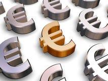 símbolos del euro 3D Imágenes de archivo libres de regalías