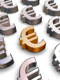 símbolos del euro 3D Imagen de archivo