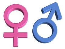 símbolos del género del varón 3D y de la hembra Imagen de archivo