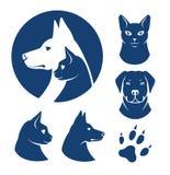 Símbolos del gato y del perro stock de ilustración