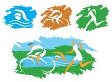 Símbolos del grunge del Triathlon Foto de archivo
