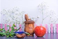 Símbolos del hashanah, de la manzana y de la miel del rosh Imagenes de archivo