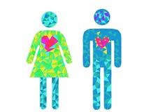 Símbolos del hombre y de la mujer Imagen de archivo libre de regalías