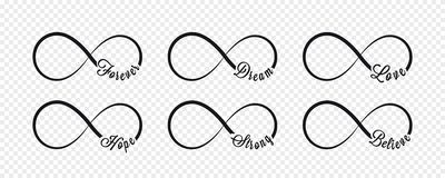 Símbolos del infinito Repetición e icono de la ciclicidad y ejemplo ilimitados de la muestra en fondo transparente forever libre illustration