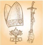 Símbolos del papa stock de ilustración