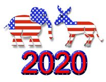 Símbolos del partido de la elección 2020 gráficos ilustración del vector