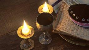 Símbolos del passover de la víspera de Pesach del gran día de fiesta judío matzoh tradicional metrajes