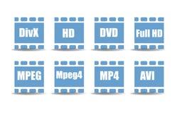 Símbolos del reproductor multimedia Foto de archivo libre de regalías