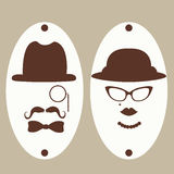 Símbolos del retrete del caballero y de las señoras stock de ilustración
