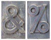 Símbolos del signo '&' y del por ciento Fotos de archivo libres de regalías