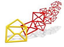 Símbolos del sobre del email que fluyen adentro Fotos de archivo