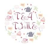 Símbolos del tiempo del té en forma del círculo Ilustración del vector libre illustration