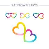Símbolos del vector de los corazones del arco iris Imagenes de archivo