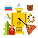Símbolos del vector de Rusia Ejemplo colorido de la historieta del estilo plano stock de ilustración