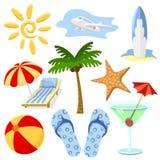 Símbolos del verano y del recorrido Fotografía de archivo libre de regalías