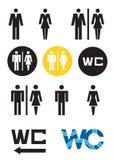 Símbolos del WC, muestra femenina del WC del ADN del varón del icono del retrete Fotos de archivo