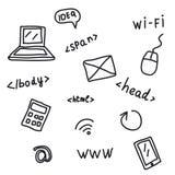 Símbolos del web del dibujo de la mano aislados en blanco Foto de archivo libre de regalías