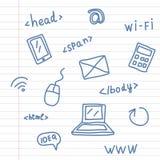 Símbolos del web del dibujo de la mano en la hoja del cuaderno Imagen de archivo libre de regalías