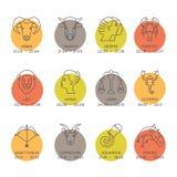 Símbolos del zodiaco Foto de archivo libre de regalías