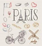 Símbolos dibujados mano de París stock de ilustración