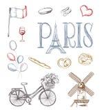 Símbolos dibujados mano de París ilustración del vector