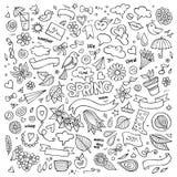 Símbolos dibujados mano del vector de la primavera de la naturaleza y Imagenes de archivo