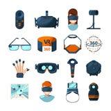 Símbolos diferentes da realidade virtual Informática eletrônica e do futuro Ícones do vetor ajustados no estilo dos desenhos anim ilustração do vetor