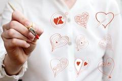Símbolos diferentes de tiragem do amor Foto de Stock Royalty Free