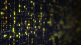 Símbolos digitales del HEX. amarillo en el monitor de computadora Foto de archivo