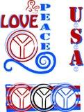 Símbolos do amor & de paz Imagem de Stock
