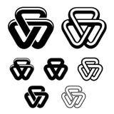 Símbolos do branco do preto do triângulo da unidade Fotografia de Stock Royalty Free