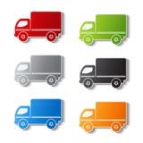 Símbolos do caminhão - ícone da entrega, etiqueta ilustração stock