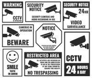 Símbolos do Cctv, etiqueta da câmara de segurança, fiscalização video ilustração royalty free