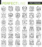 Símbolos do conceito do esboço do amigo do animal de estimação Linha fina ícones da loja de animais de estimação perfeita Ilustra Foto de Stock