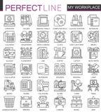 Símbolos do conceito do esboço do espaço de trabalho do escritório mini Ilustrações lineares do estilo do curso moderno ajustadas Imagens de Stock