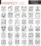 Símbolos do conceito do esboço do esporte e da aptidão Linha fina perfeita ícones Ilustrações lineares modernas do estilo ajustad ilustração stock