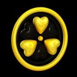 Símbolos do coração que dão forma a um sinal do alerta da radiação Fotos de Stock