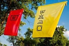 Símbolos do cuidado da lavanderia Fotografia de Stock