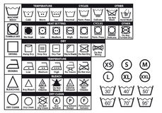 Símbolos do cuidado de matéria têxtil, grupo do vetor Imagens de Stock Royalty Free